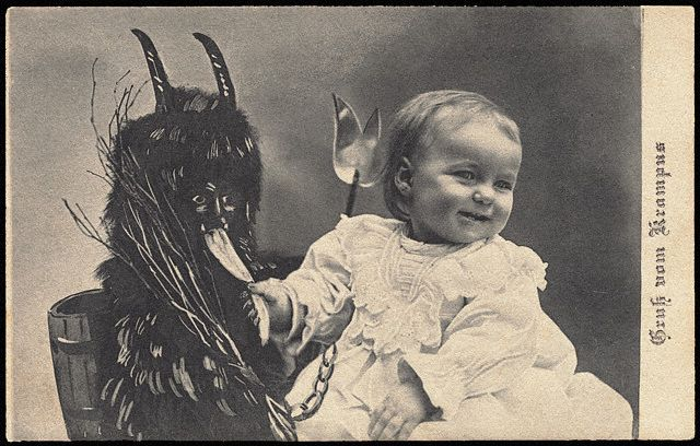 Postcard of Child with Krampus
