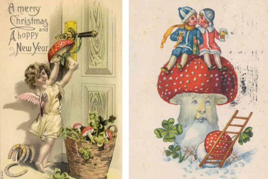 vintage-holiday-cards-with-mushrooms