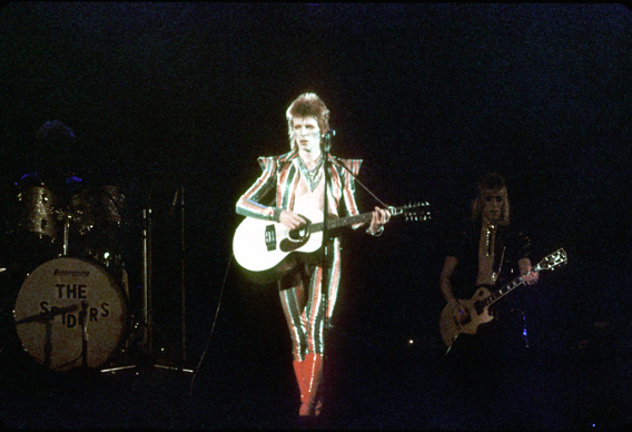 Musician David Bowie performs onstage during his 'Ziggy Stardust